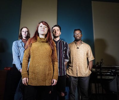 Pianist Ellie Pruneau, saxophonist Amanda Gardier, bass player Brendan Keller-Tuberg and drummer Carrington Clinton pose for a photo. A four-person jazz group called the Amanda Gardier Quartet will perform Thursday at Bear's Place.