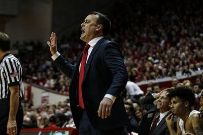 IU Coach Archie Miller yells at the team during its game against Purdue on Feb. 19 at Simon Skjodt Assembly Hall. IU lost to Purdue, 48-46.