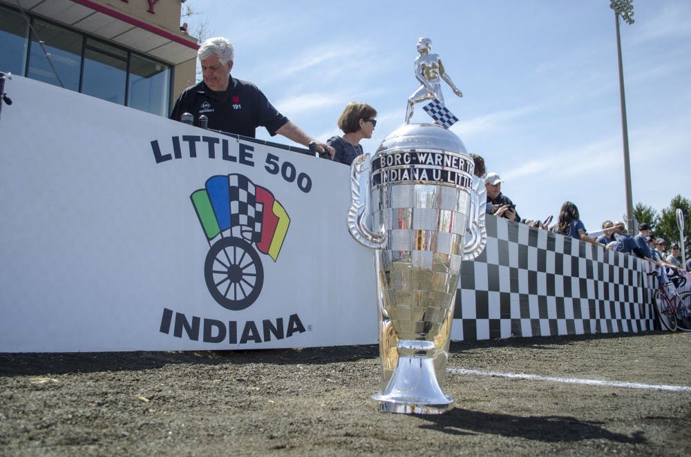 <p>The Borg-Warner Trophy sits on the track Saturday before the 2019 men's Little 500 at Bill Armstrong Stadium. Cutters took first, Bears camein second and Black Key Bulls placed third. </p>