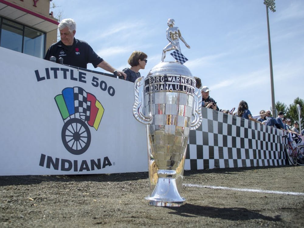 The Borg-Warner Trophy sits on the track Saturday before the 2019 men's Little 500 at Bill Armstrong Stadium. Cutters took first, Bears camein second and Black Key Bulls placed third.