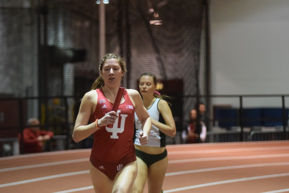 <p>Then-sophomore distance runner Kelsey Harris, now a junior, runs the first leg of the distance medley relay in the Hoosier Hills Invitational on Feb. 10, 2016, in Harry Gladstein Fieldhouse. Harris is currently ranked 8th place in the Big Ten for her performance of 4:26.19 at the Florida Relays and the Stanford Invitational this past weekend.&nbsp;</p>