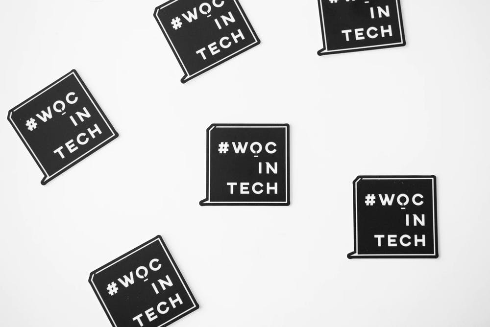 <p>A graphic displays the message &quot;#WOCinTech,&quot; supportive of women of color in tech industries.</p>
