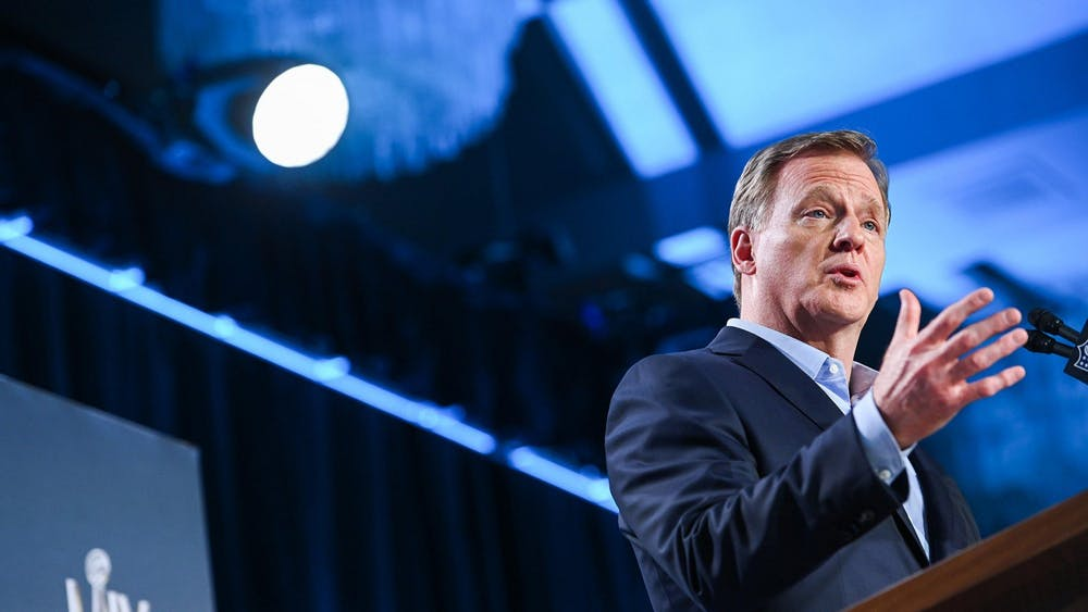 NFL Commissioner Roger Goodell speaks during a news conference ahead of Super Bowl LIV on Jan. 29, 2020, at the Hilton Downtown in Miami.