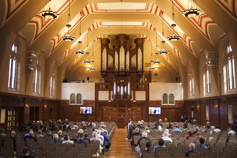 Organist William Porter of Eastman School of Music performs in 2013 in Alumni Hall in the Indiana Memorial Union. The Mowgli's will be performing Nov. 30 in Alumni Hall.