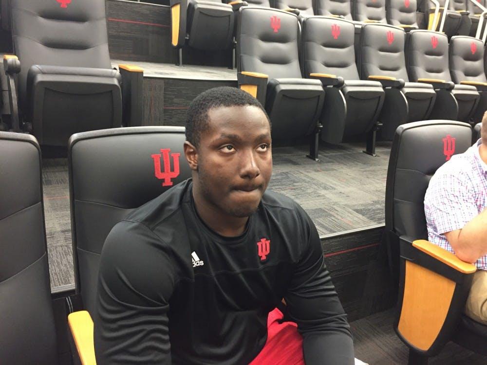 Freshman defensive lineman Jeramy Passmore talks to the media June 18 inside Memorial Stadium. Cooper is from Christopher Columbus High School in Miami, Florida.