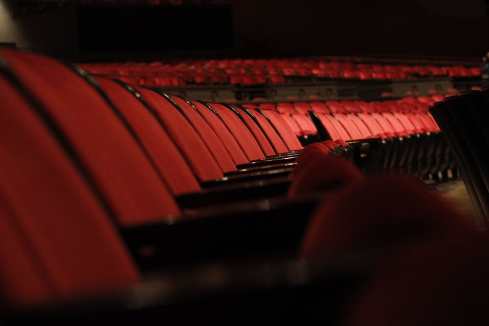 <p>The rows of vacant seats fills the IU Auditorium on Aug. 30, 2021. The IU Auditorium is ready to begin in person events for the 2021-2022 school year.</p>