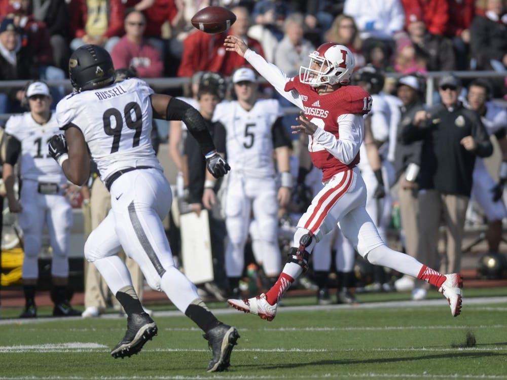 Then-freshman quarterback Zander Diamont throws a pass during IU's game against Purdue on Sunday, November 29, 2015 at Memorial Stadium.