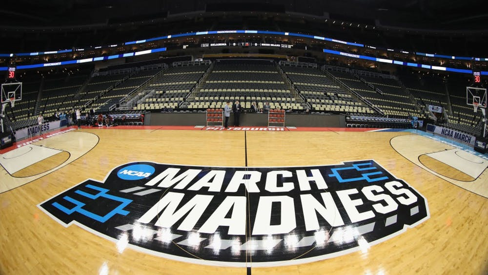 The logo for March Madness is seen before the first round of the 2018 NCAA Men's Basketball Tournament at PPG Paints Arena in Pittsburgh.