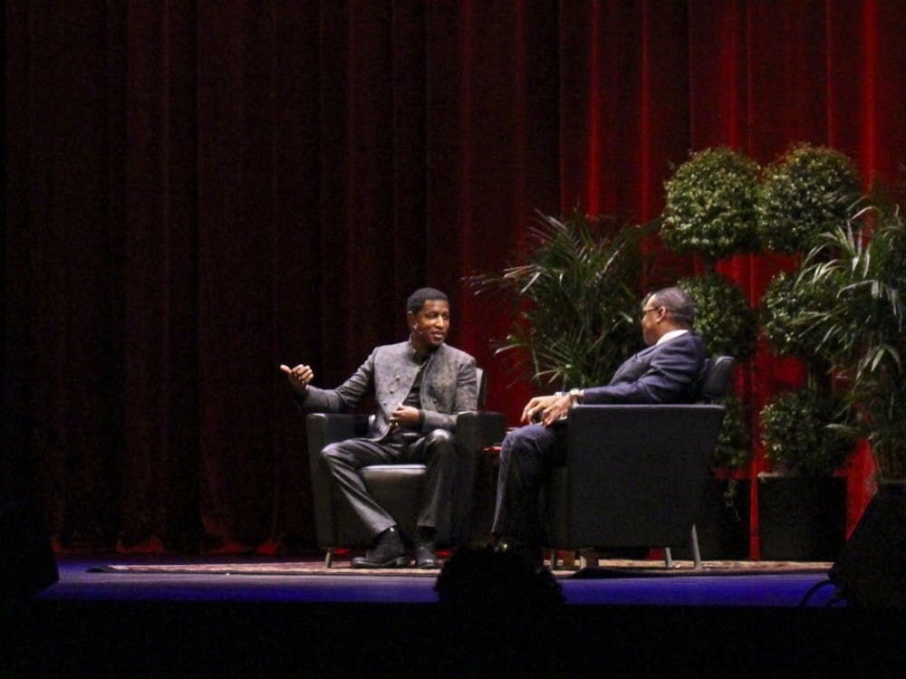 """Kenneth """"Babyface"""" Edmonds talks to James Strong during a Q&A. Edmonds received an honorary doctoral degree from IU on Oct. 18."""