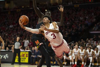 IU junior Justin Smith goes up for a shot against a University of Maryland defenderJan. 4. IU will play Michigan State on Thursday at Simon Skjodt Assembly Hall.