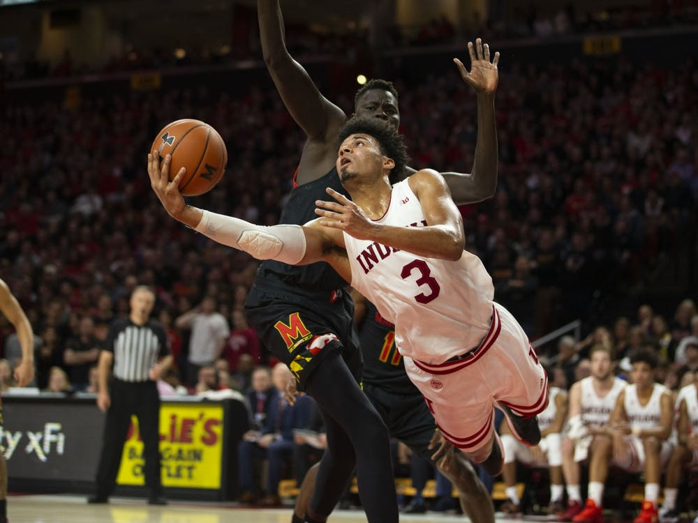 IU junior Justin Smith goes up for a shot against a University of Maryland defender. IU lost to Maryland 75-59 on Saturday, January 4 in College Park, MD.