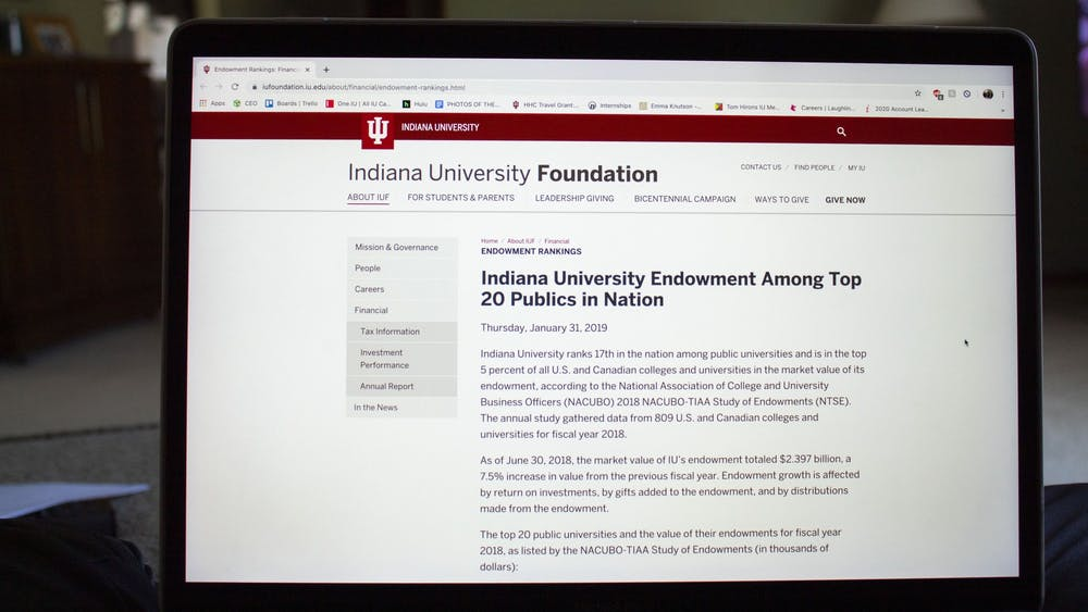 An article about the IU endowment is displayed on the IU Foundation website.