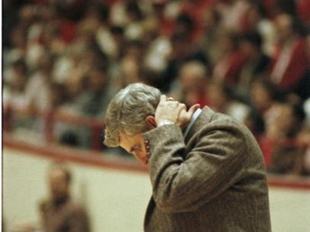 Bob Knight rubs the back of his neck Jan. 12, 1985, during a game against Wisconsin at Simon Skjodt Assembly Hall. IU swept the season series against Wisconsin in the 1984-85 season.
