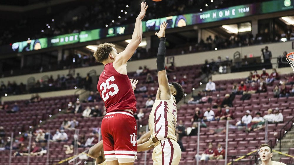 Redshirt junior Race Thompson during the game Dec. 9 against the Florida State Seminoles at the Donald L. Tucker Civic Center in Tallahassee, Florida. IU lost 67-69.