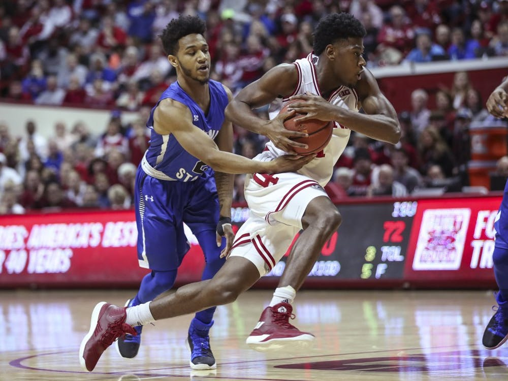 Freshman guard Aljami Durham dribbles the ball during the Hoosiers' game against the Indiana State Sycamores on Friday. The Hoosiers lost to the Sycamores, 90-69.