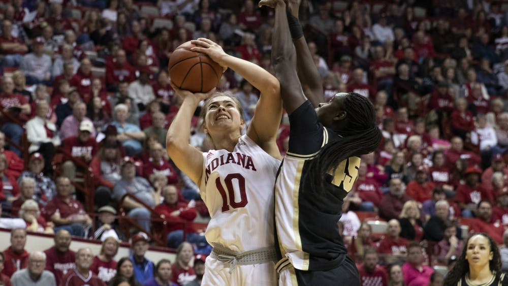 Sophomore Aleksa Gulbe attempts a shot Jan. 9 against Purdue in Simon Skjodt Assembly Hall. IU will travel to Purdue on Monday for their second meeting of the season.