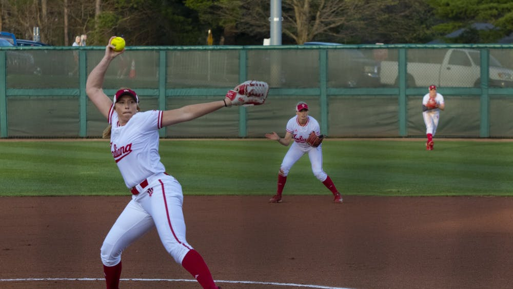 Then-junior, now-senior Emily Goodin pitches the ball April 10, 2019, against Purdue. Goodin will lead the Hoosiers from the circle this year.