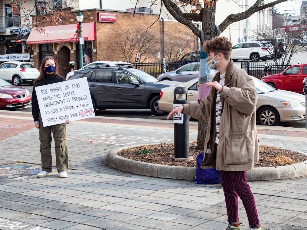 Patrick Saling speaks at a #FreeBillieAllen public demonstration Dec. 4 in People's Park. Around 30 people attended the event.