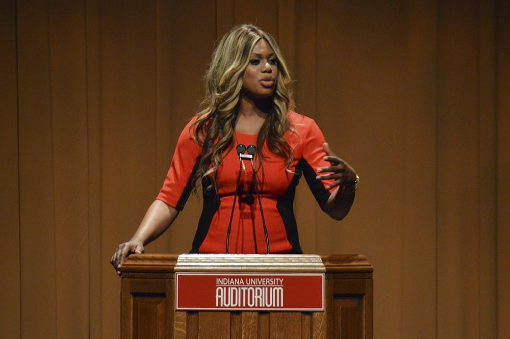 <p>Actress and LGBTQ advocate Laverne Cox speaks Jan. 1, 2015, at the IU Auditorium. Cox will speak at 7 p.m. on March 28 in the IU Auditorium as part of the IU Arts and Humanities Council&#x27;s Indiana Remixed Festival.</p>