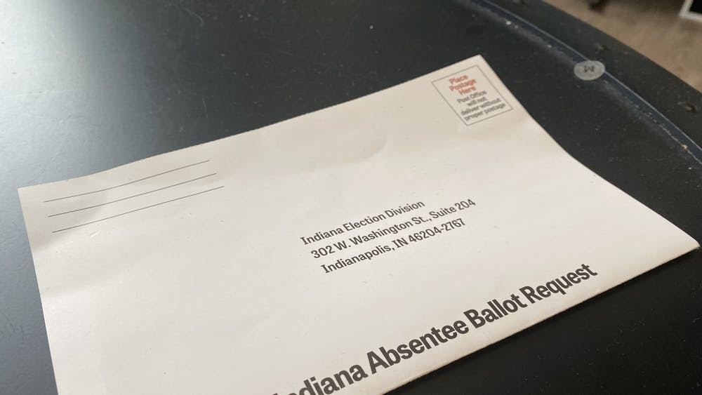 An Indiana absentee ballot sits on a table Oct. 26.