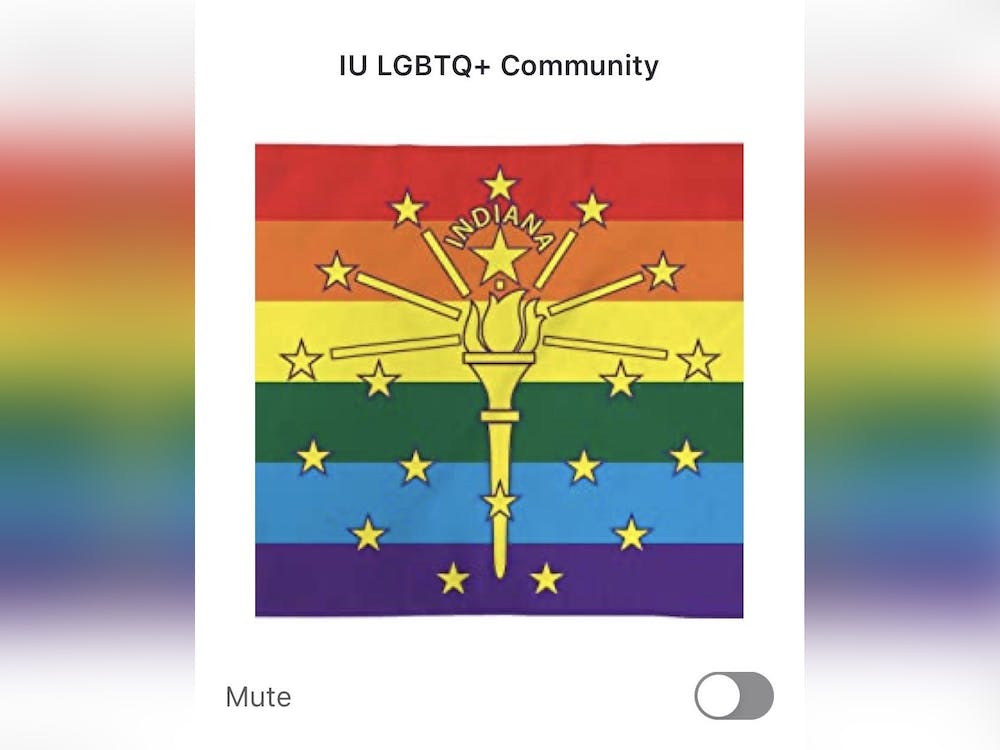 The information section of IU's LGBTQ+ GroupMe is displayed on a phone. The GroupMe was created to help LGBTQ students stay connected on and off campus.