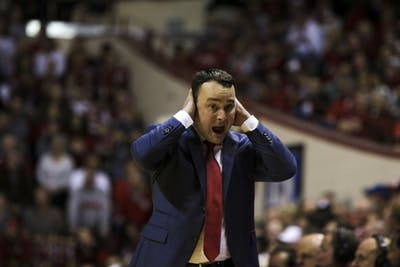 IU men's basketball Coach Archie Miller yells after the Hoosiers are fouled Nov. 20 in Simon Skjodt Assembly Hall. The Hoosiers have now lost 10 of their last 11 games.
