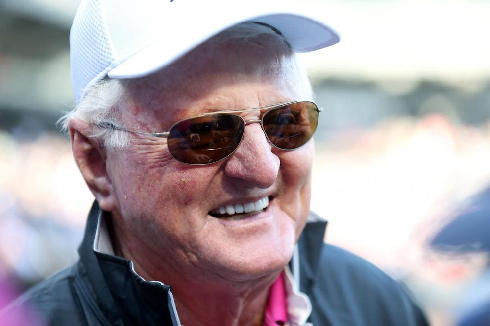 Chicago White Sox broadcaster Hawk Harrelson talks with reporters before throwing out the ceremonial first pitch between the Chicago White Sox and the San Diego Padres May 13, 2017 at Guaranteed Rate Field, in Chicago. Harrelson was admitted to the Baseball Hall of Fame after being awarded the Ford C. Frick Award in December 2019.