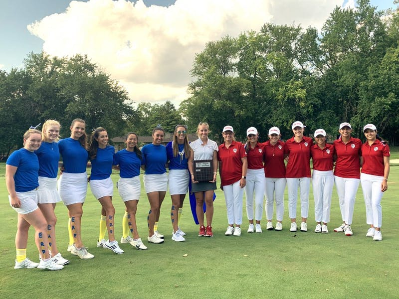 Members of the IU women's golf team pose for a photo Sept. 13 at the Pfau Golf Course. The team played in a tournament where international players competed against U.S.-born players in a match play.