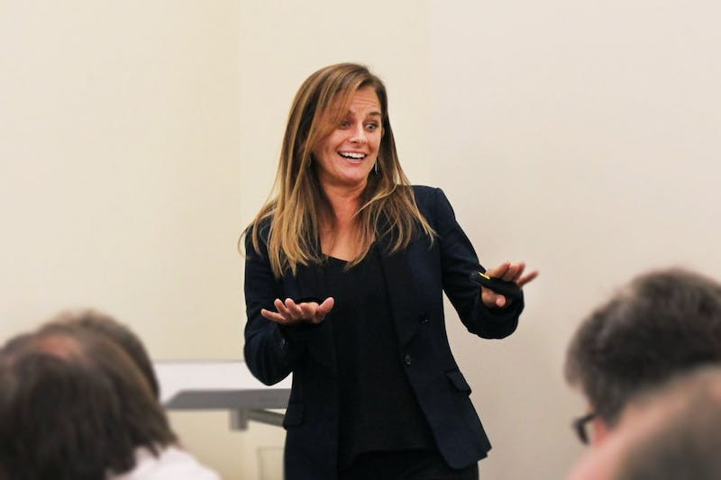 Humane Society director of food and nutrition Karla Dumas makes several jokes before beginning her presentation at the Big Ten Chefs Summit on Oct. 7 in Read Residence Hall. The presentation discussed healthy plant-based food options at IU.