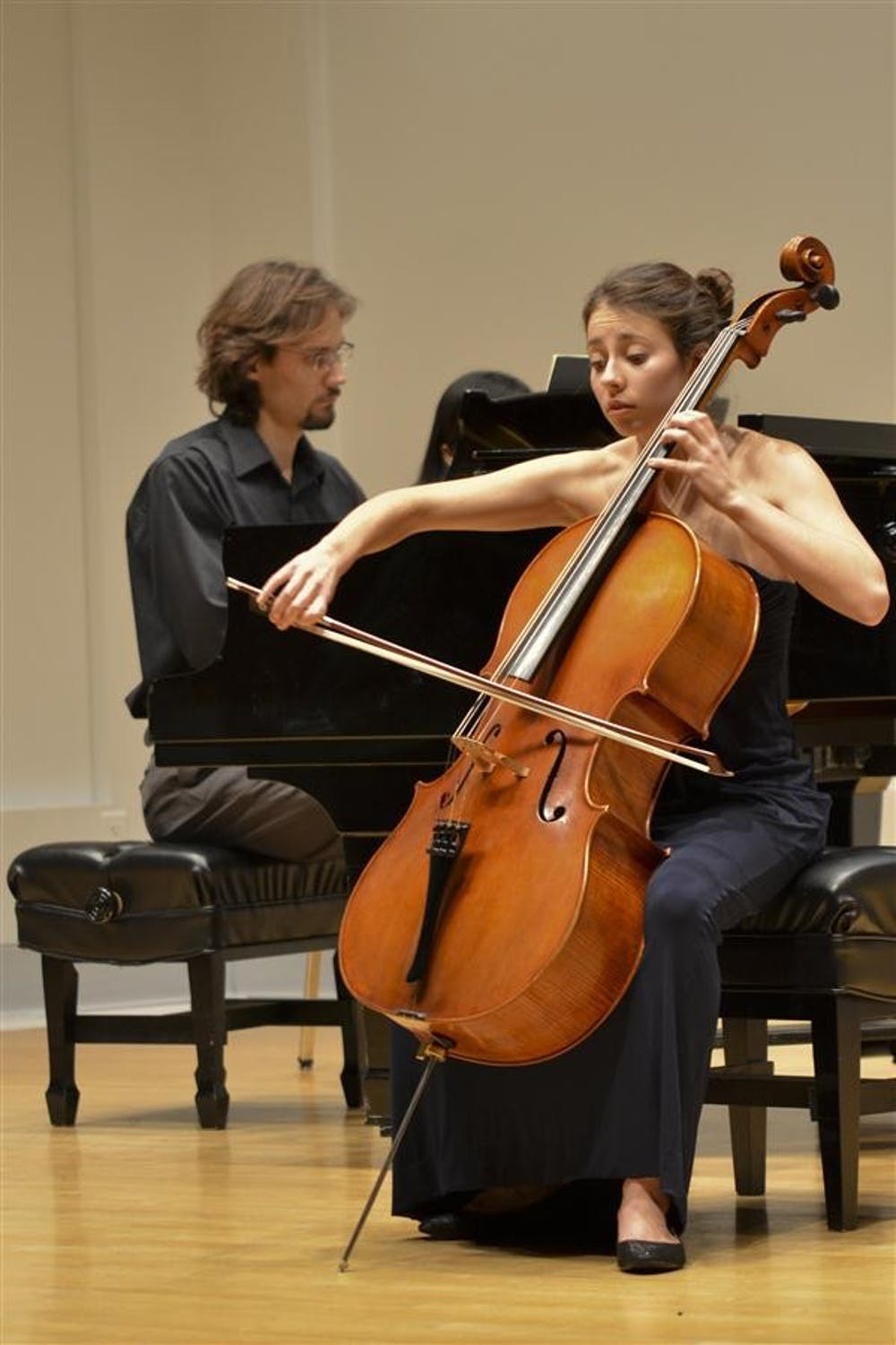 Junior Lia Kohl performs Robert Schumann's Fantasiestucke, Op. 73 at her cello recital Monday in the Ford-Crawford Recital Hall. Kohl was accompanied by painist Aleksey Aremyev, and performed pieces by Johann Sebastian Bach and Cesar Franck in addition to the Schumann composition.