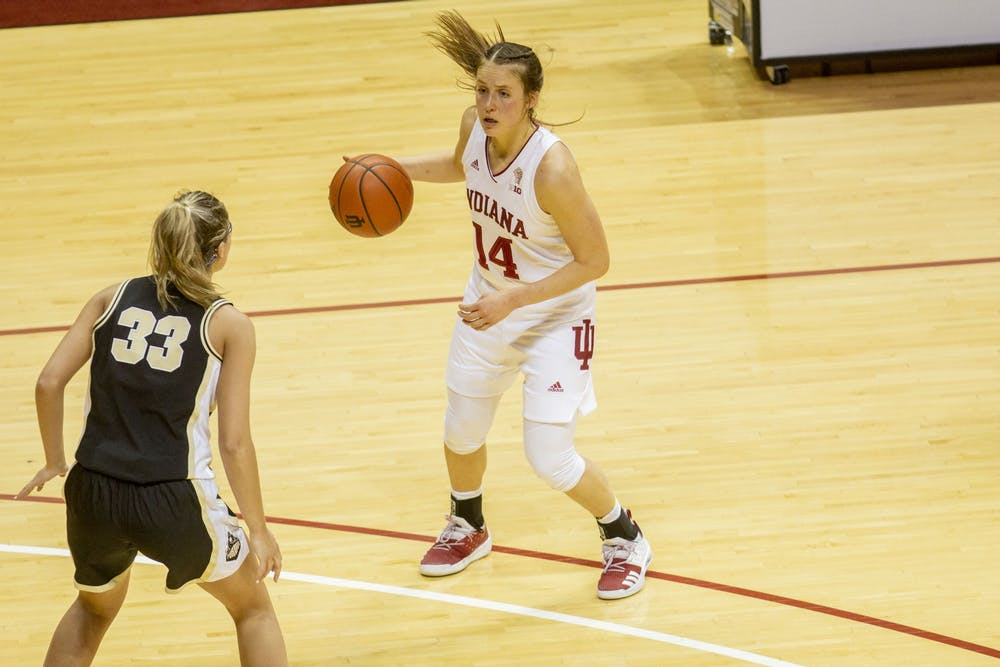 <p>Senior guard Ali Patberg dribbles the ball March 6 at Simon Skjodt Assembly Hall. Patberg finished with 17 points in IU&#x27;s 73-70 win over North Carolina State University on Saturday to advance to the Elite Eight.</p>