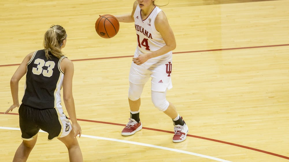 Senior guard Ali Patberg dribbles the ball March 6 at Simon Skjodt Assembly Hall. Patberg finished with 17 points in IU's 73-70 win over North Carolina State University on Saturday to advance to the Elite Eight.