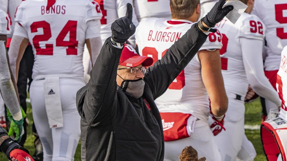 Head coach Tom Allen points into the air Nov. 14 in Spartan Stadium in East Lansing, Michigan. Despite having the most wins of any school in the Big Ten East, IU will not be playing for a conference championship.