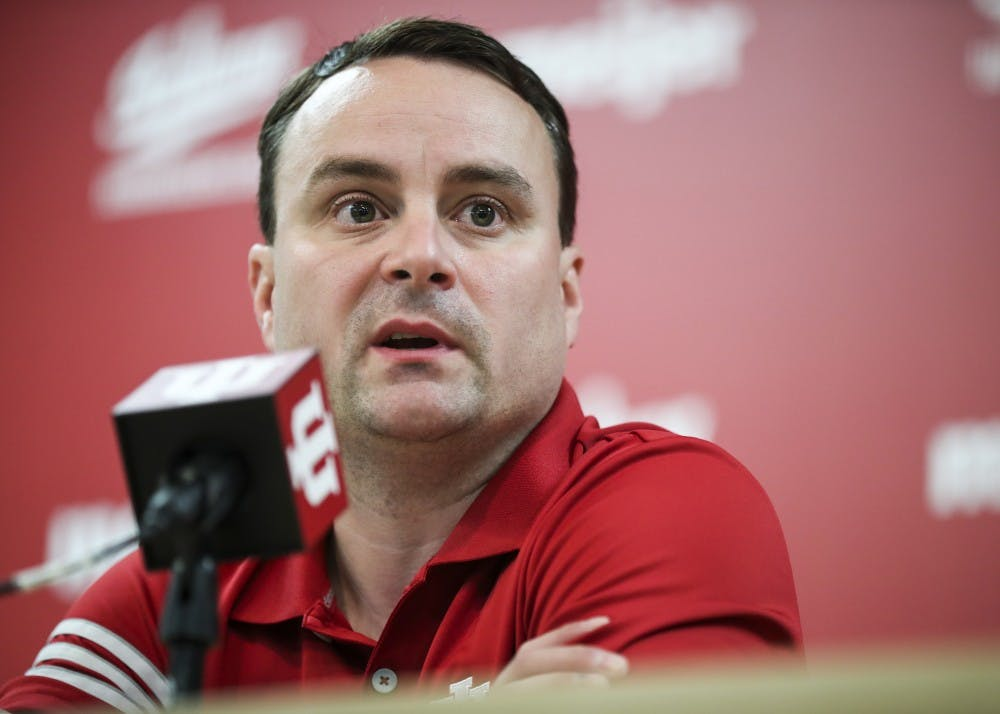 <p>Head Coach Archie Miller speaks to the press at Simon Skojdt Assembly Hall on Sept. 28. Miller will prioritize defense during his first season in charge of the men's basketball team.&nbsp;</p>