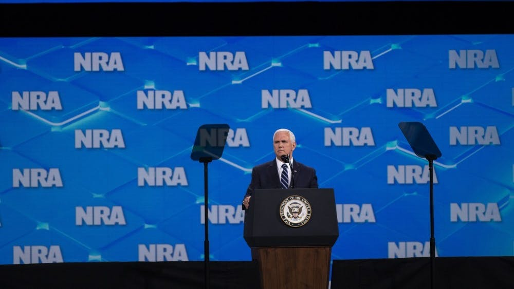 Vice President Mike Pence speaks April 26, 2019, at the NRA-ILA Leadership Forum in Indianapolis. Pence has canceled his Friday events in Indiana and is returning to Washington, D.C.