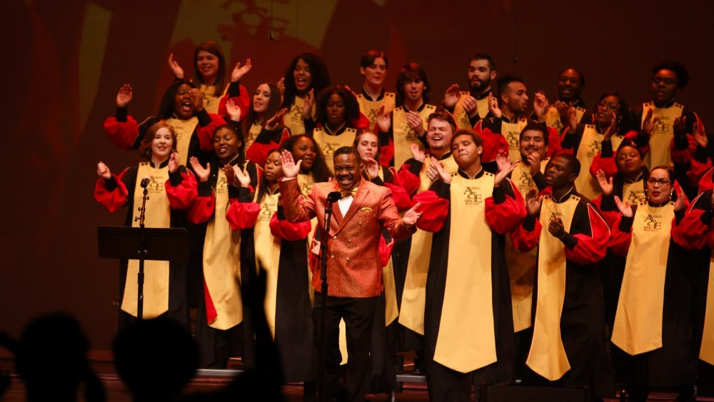African American Choral Ensemble Director Raymond Wise directs the ensemble during Potpourri of the Arts on Nov. 11, 2017, at IU Auditorium. IU's African American Arts Institute will have its 26th annual Potpourri of the Arts at 7:30 p.m. Nov. 9 in the IU Auditorium.