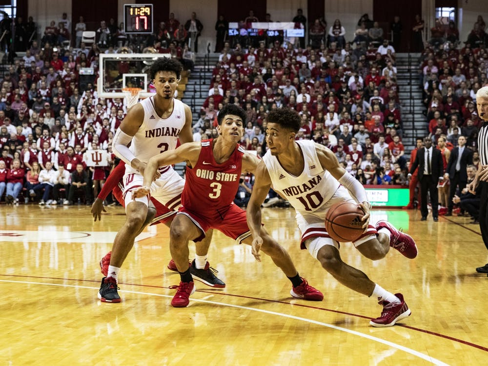 Sophomore guard Rob Phinisee drives the ball in the second half against Ohio State on Jan. 11 in Simon Skjodt Assembly Hall. IU Athletics has not determined whether to change scheduled events due to concerns over the coronavirus.