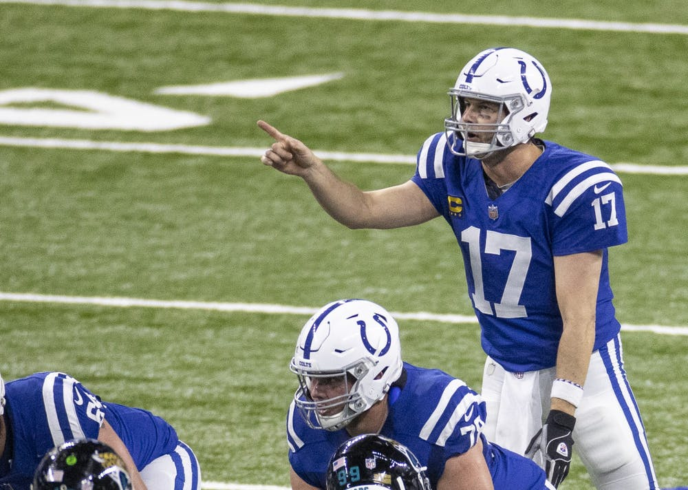 <p>Indianapolis Colts quarterback Philip Rivers makes a play call Jan. 3 at Lucas Oil Stadium in Indianapolis. </p>
