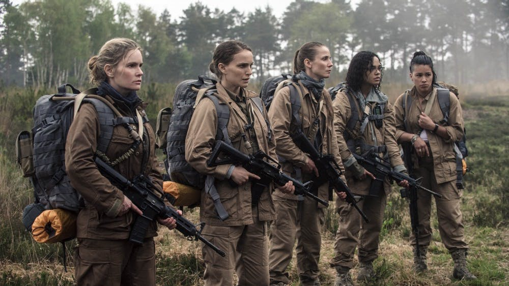 "Gina Rodriguez, Jennifer Jason Leigh, Natalie Portman, Tessa Thompson and Tuva Novotnyin appear in the 2018 film ""Annihilation."" The science fiction horror film is written and directed by Alex Garland."