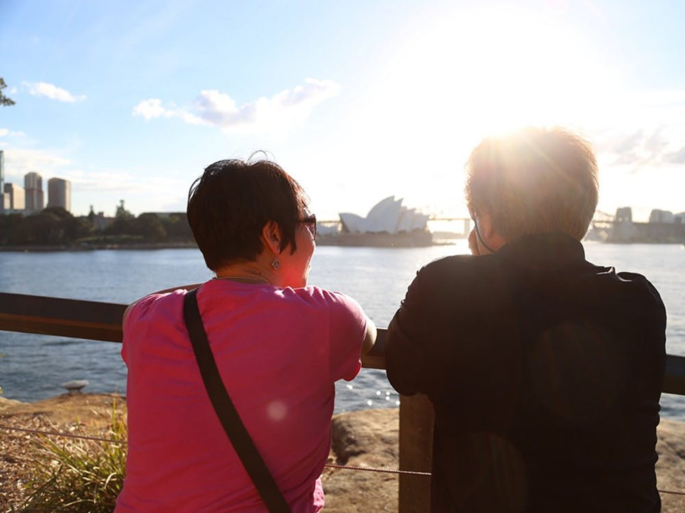 Dr. Steve Zegree and Singing Hoosiers Associate Director Ly Wilder look out towards the Sydney Opera House. The Singing Hoosiers conducted a two-week tour of Australia in May 2014.