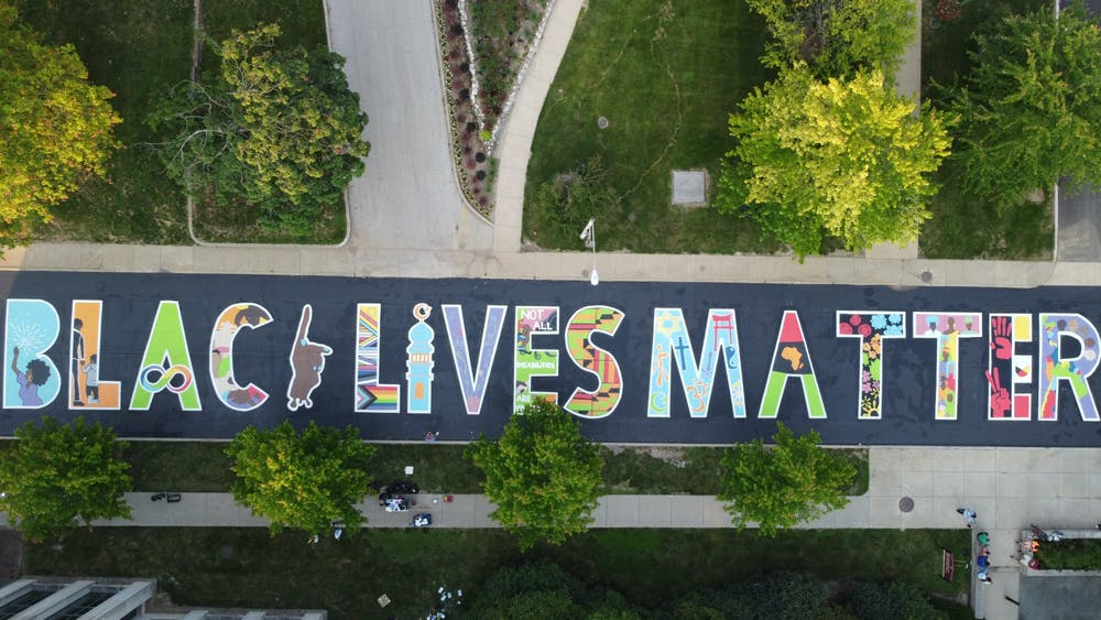 <p>The Black Lives Matter mural on Jordan Avenue is seen July 5, 2021, outside the Neal-Marshall Black Culture Center. </p>