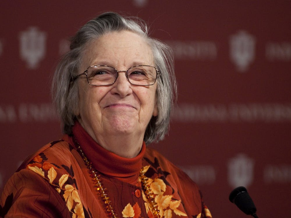 Elinor Ostrom listens to a question at a press conference Oct. 12, 2009, in Bloomington. Ostrom became the first woman to be awarded the Nobel prize for economics that same day.
