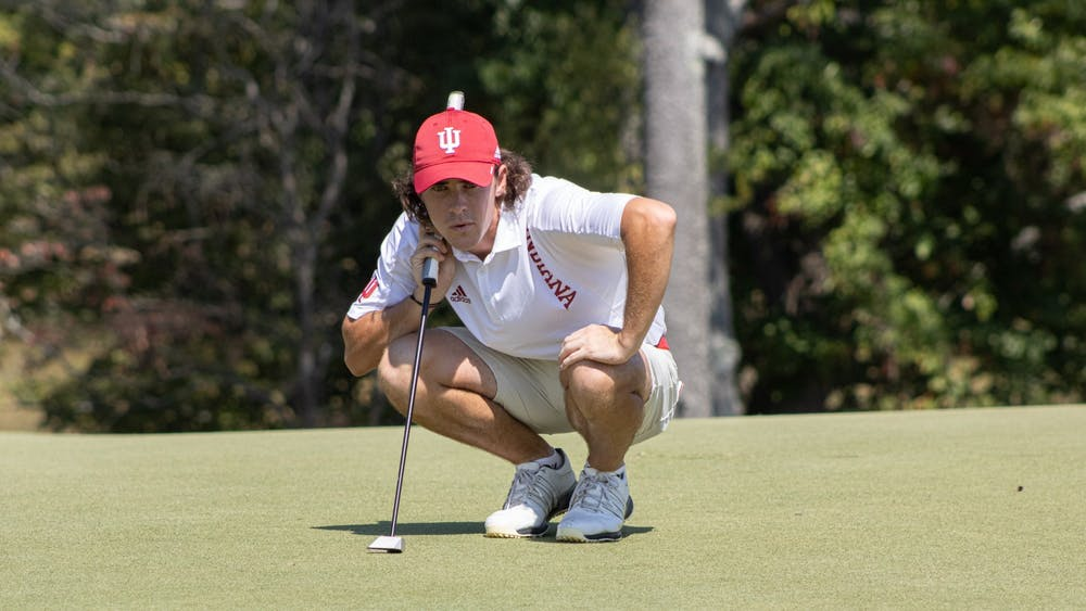 Sophomore Clay Merchent prepares for his turn during the Hoosier Collegiate Invite on Sept. 6, 2021, at Pfau Golf Course in Bloomington. Indiana men's golf finished sixth at the Fighting Illini Invitational this weekend at the Olympia Fields Country Club in Chicago.