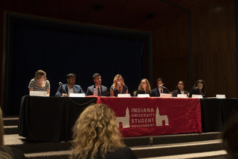 IU Student Government candidates address questions March 25 about topics from high tuition to recent campus sexual violence. The IUSG debate was in the Whittenberger Auditorium at the Indiana Memorial Union.