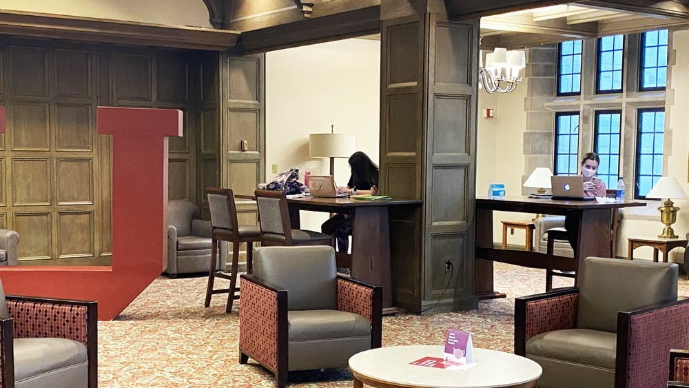 Students study Sept. 16 in the Indiana Memorial Union. While many classes are taking place online, students can still study inside different locations on campus.