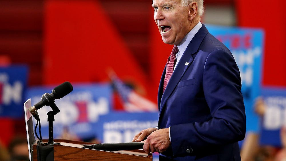 Former Vice President Joe Biden addresses supporters during a campaign rally March 9 at Renaissance High School in Detroit.