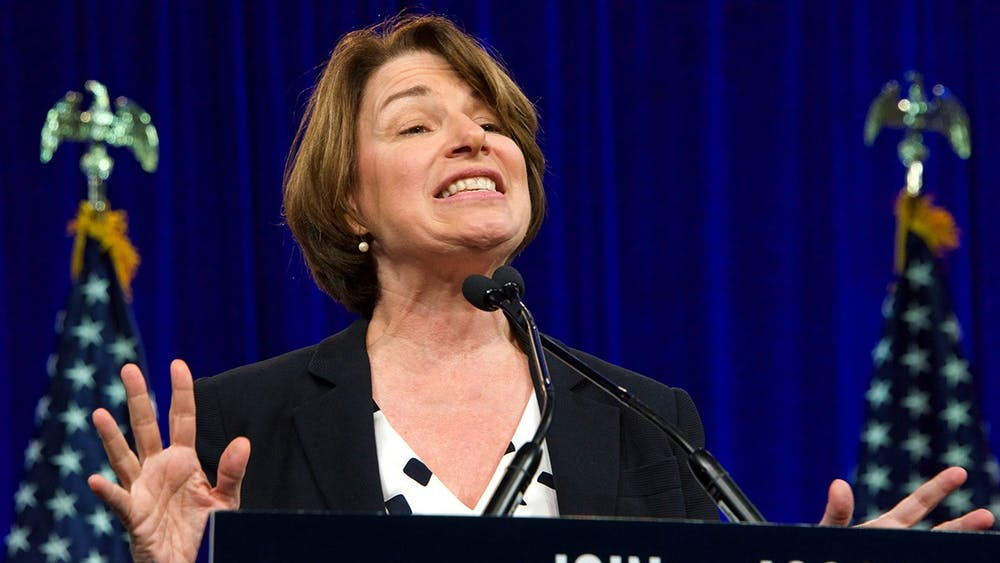 Presidential candidate Amy Klobuchar speaks at the Democratic National Convention summer session Aug. 23, 2019, in San Francisco, California.