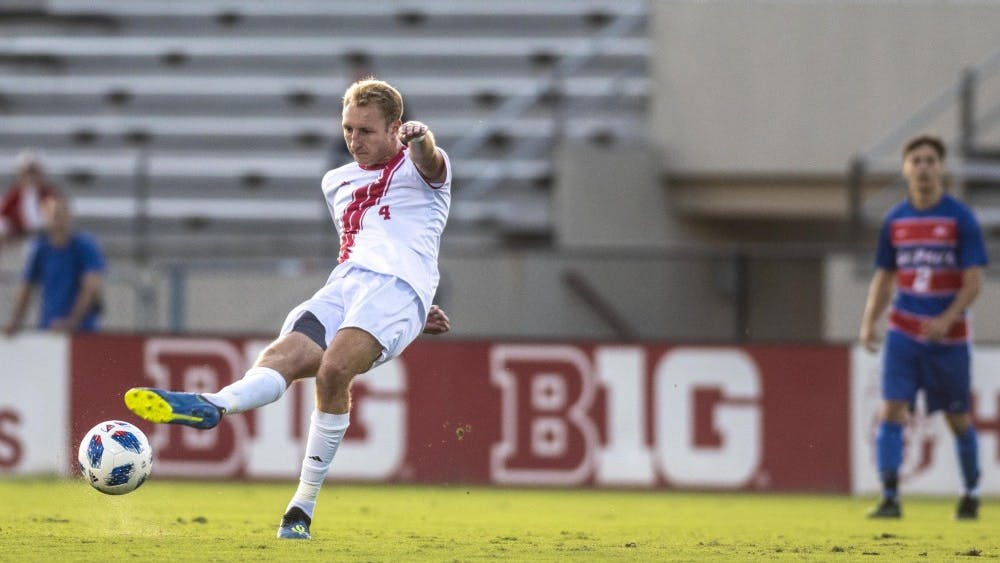 Redshirt junior A.J. Palazzolo passes the ball during IU's win over DePaul on Aug. 24 at Bill Armstrong Stadium. Headlined by a trio of four-star freshmen, the incoming 14-man soccer recruiting class is ranked No. 2 in the nation, according to Top Drawer Soccer.