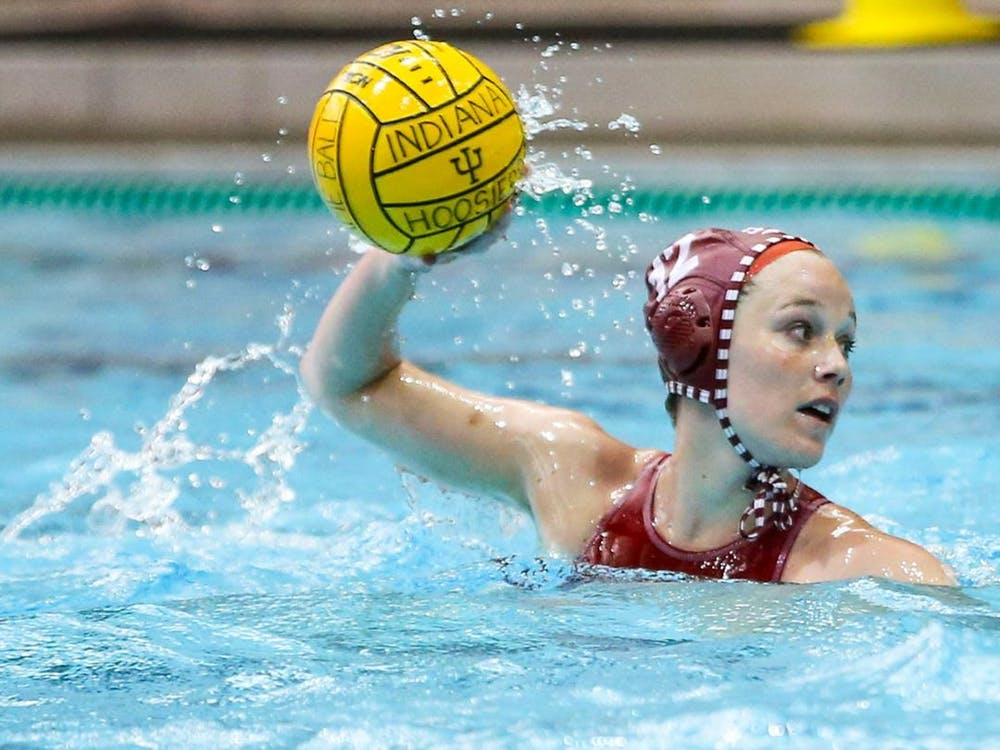 Junior Tina Doherty prepares to throw the ball during a water polo match against San Jose State on Saturday in San Jose, California. The Hoosiers won 12-8 on Saturday.