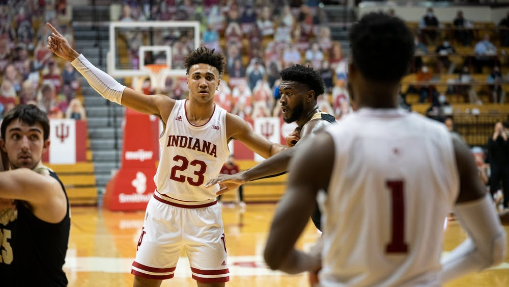 Sophomore forward Trayce Jackson-Davis calls for the inbounds pass on Thursday at Simon Skjodt Assembly Hall. Indiana lost to Purdue 81-69.